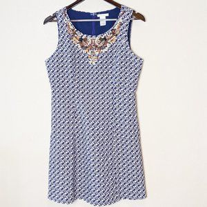 Esley Blue and White Summer Sun Dress Medium